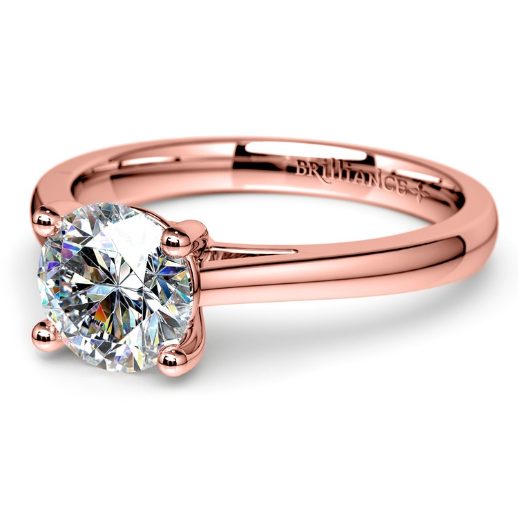 Petite Cathedral Solitaire Engagement Ring in Rose Gold | 04