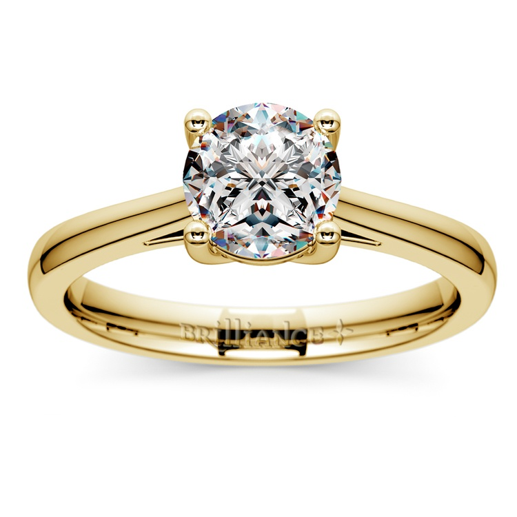 Petite Cathedral Solitaire Engagement Ring in Yellow Gold | 01