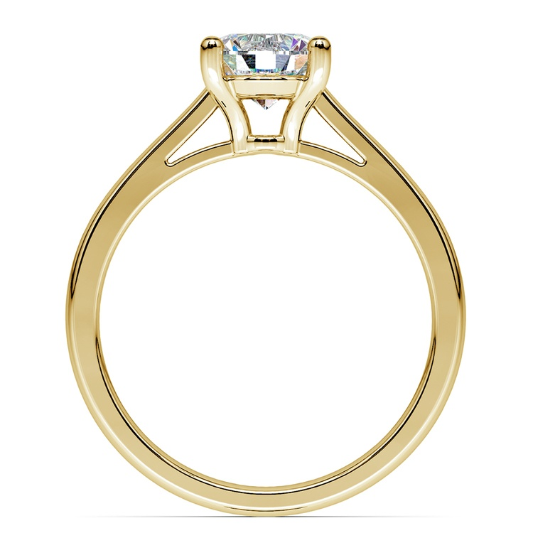 Petite Cathedral Solitaire Engagement Ring in Yellow Gold | 02