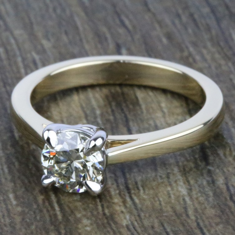 Petite Cathedral Solitaire Engagement Ring in Yellow Gold | 05