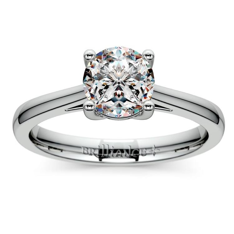 Petite Cathedral Solitaire Engagement Ring in White Gold | 01