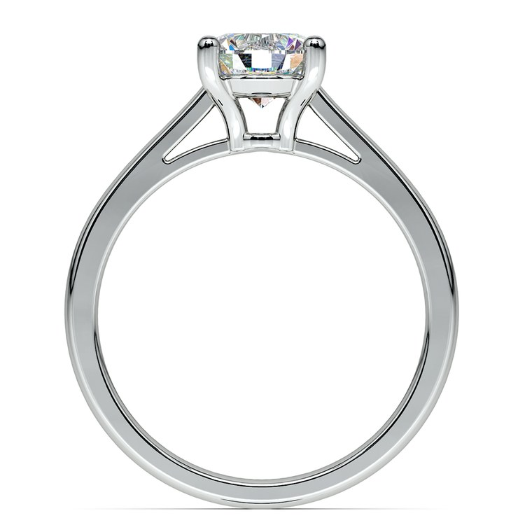 Petite Cathedral Solitaire Engagement Ring in White Gold | 02