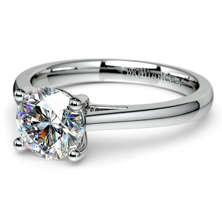 Petite Cathedral Solitaire Engagement Ring in White Gold | 04
