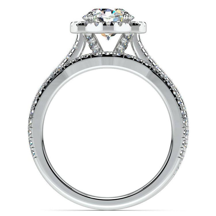 Petite Halo Diamond Bridal Set In Platinum   02