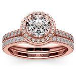 Petite Halo Rose Gold Diamond Bridal Set | Thumbnail 01