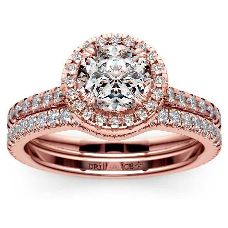 Petite Halo Rose Gold Diamond Bridal Set | 01