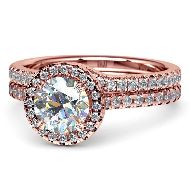 Petite Halo Rose Gold Diamond Bridal Set | 04