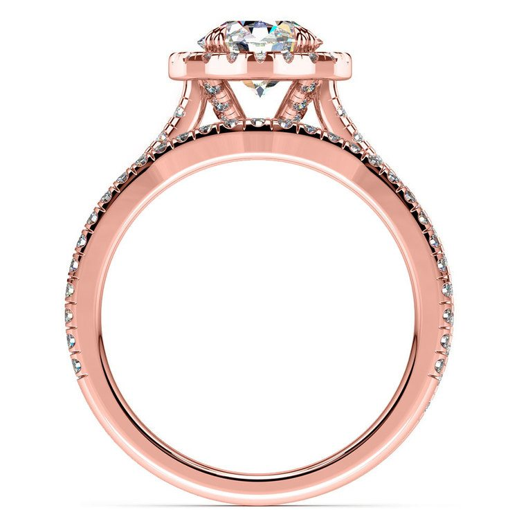 Petite Halo Rose Gold Diamond Bridal Set | 02