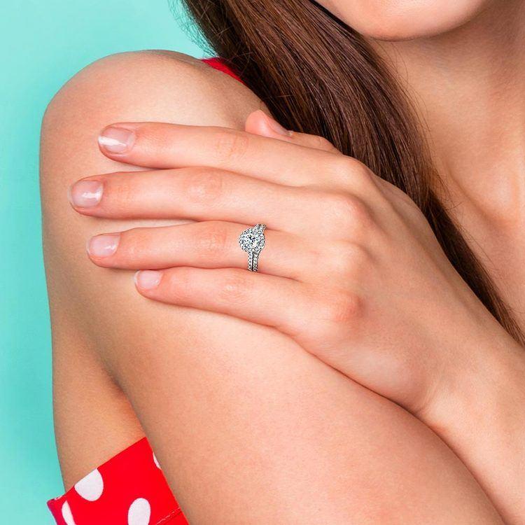 Petite Halo Diamond Bridal Set In White Gold | 07