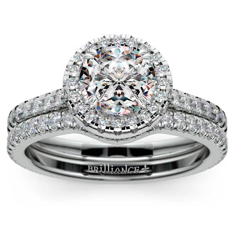 Petite Halo Diamond Bridal Set In White Gold | 01