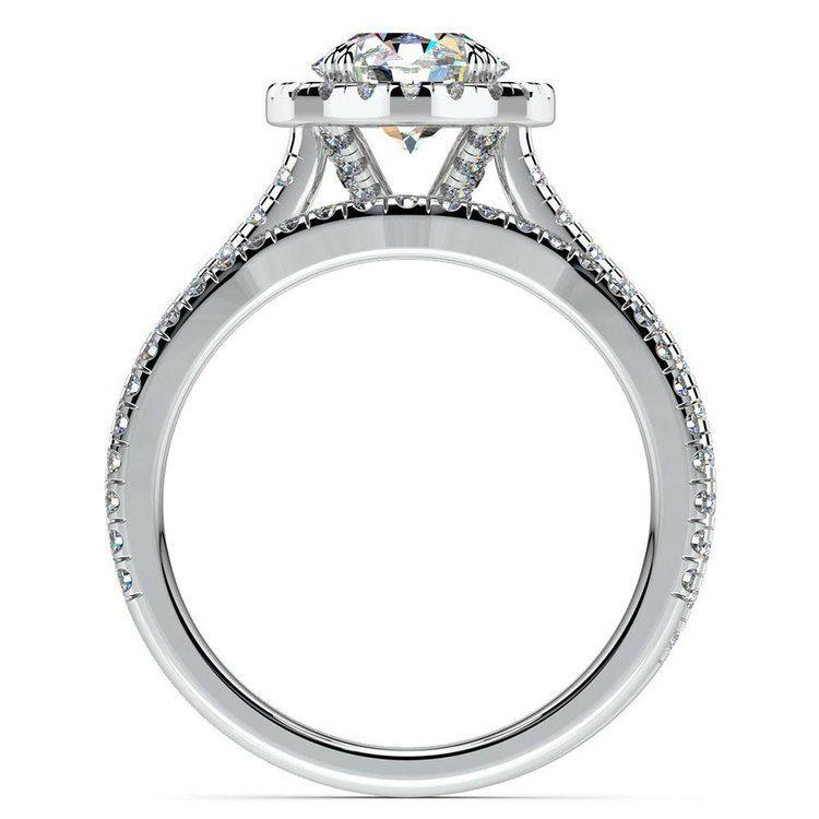 Petite Halo Diamond Bridal Set In White Gold | 02