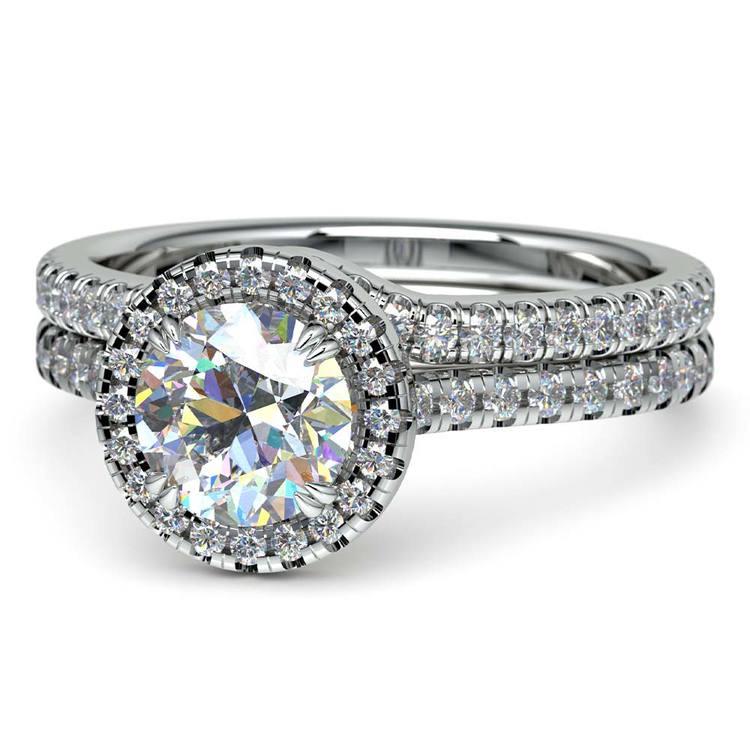 Petite Halo Diamond Bridal Set In White Gold | 04