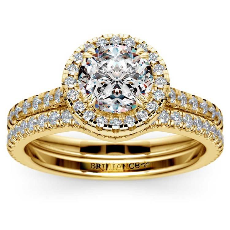 Petite Halo Diamond Bridal Set In Yellow Gold   01