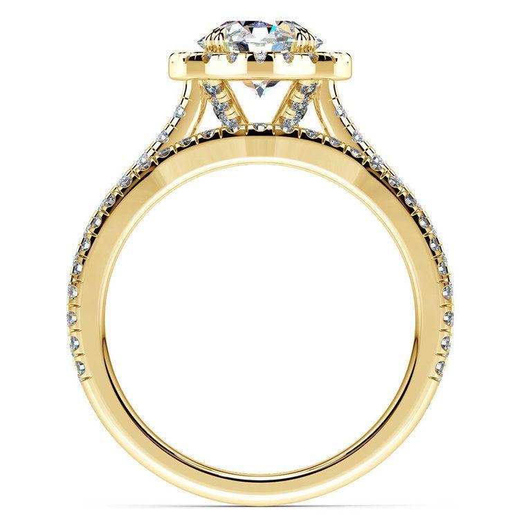 Petite Halo Diamond Bridal Set In Yellow Gold   02