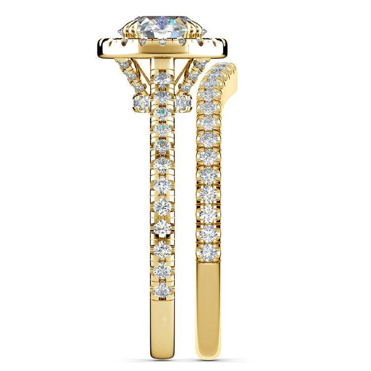 Petite Halo Diamond Bridal Set In Yellow Gold   03