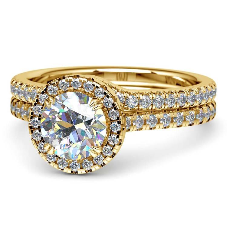 Petite Halo Diamond Bridal Set In Yellow Gold   04