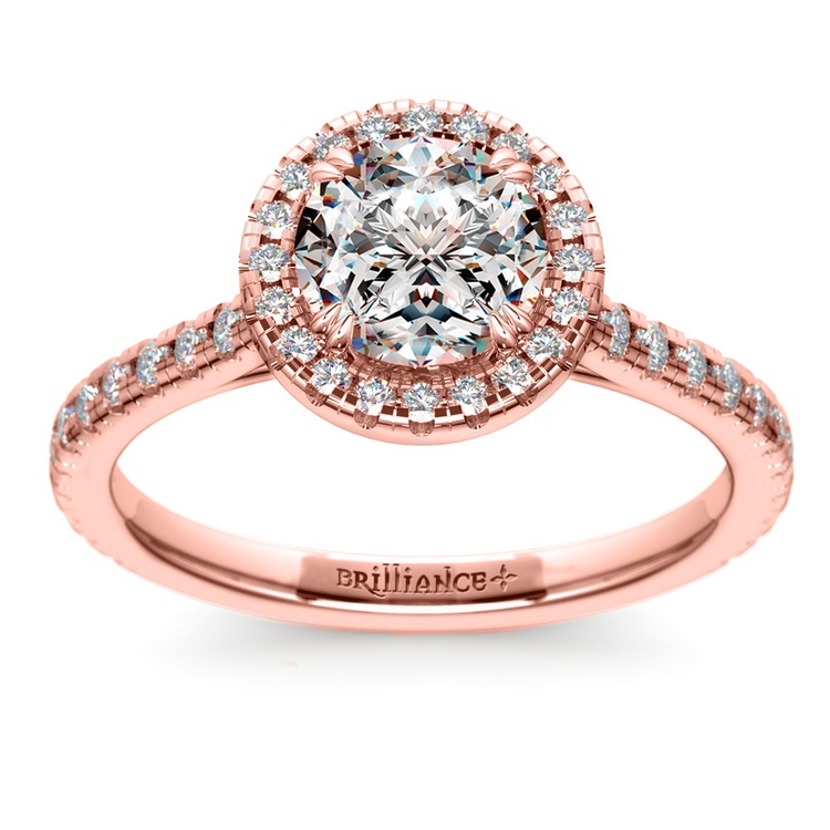 Petite Halo Diamond Engagement Ring in Rose Gold | 01