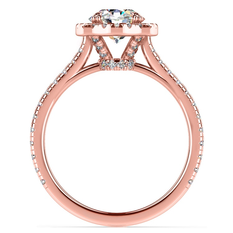 Petite Halo Diamond Engagement Ring in Rose Gold | 02