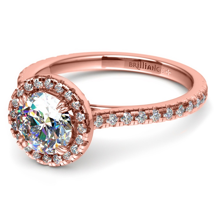 Petite Halo Diamond Engagement Ring in Rose Gold | 04