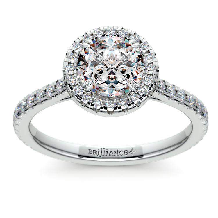 Petite Halo Diamond Engagement Ring in Platinum | 01
