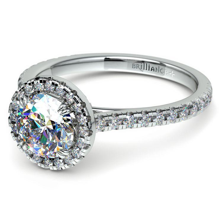 Petite Halo Diamond Engagement Ring in Platinum | 04