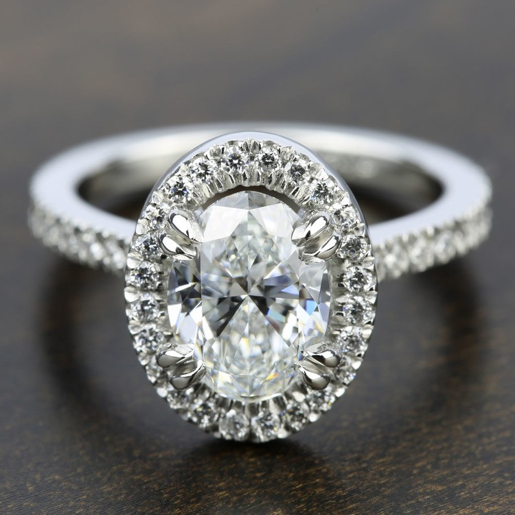 Petite Halo Diamond Engagement Ring in White Gold | 05