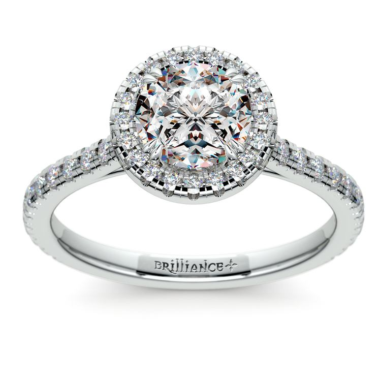 Petite Halo Diamond Engagement Ring in White Gold | 01