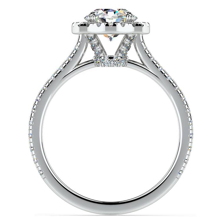 Petite Halo Diamond Engagement Ring in White Gold | 02