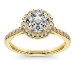 Petite Halo Diamond Engagement Ring in Yellow Gold | Thumbnail 01