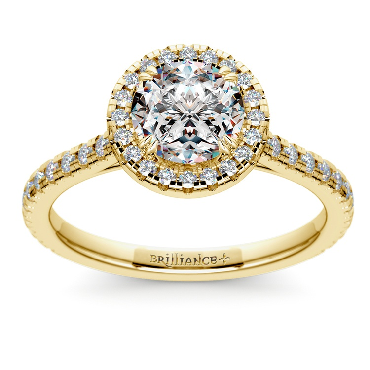 Petite Halo Diamond Engagement Ring in Yellow Gold | 01