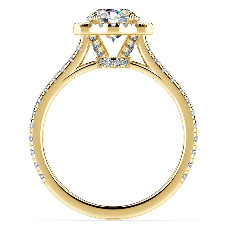 Petite Halo Diamond Engagement Ring in Yellow Gold | 02
