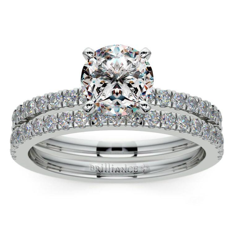 Petite Pave Diamond Bridal Set in Platinum   01