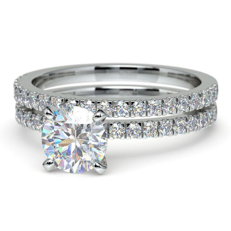 Petite Pave Diamond Bridal Set in Platinum   04