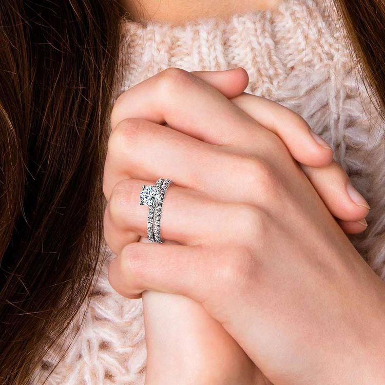 Petite Pave Diamond Bridal Set in Platinum   07