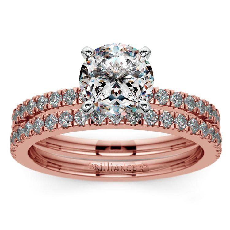 Petite Pave Diamond Bridal Set in Rose Gold | 01