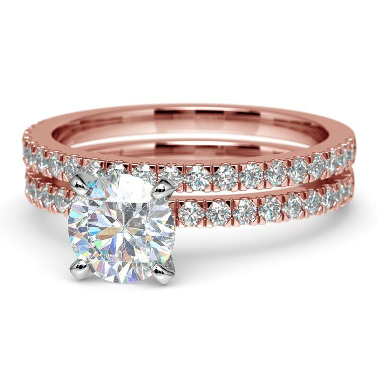 Petite Pave Diamond Bridal Set in Rose Gold | 04