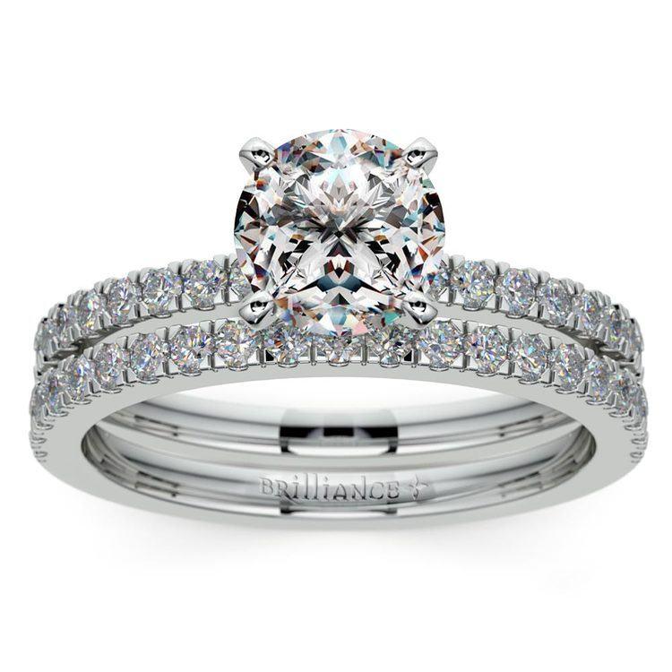Petite Pave Diamond Bridal Set in White Gold   01