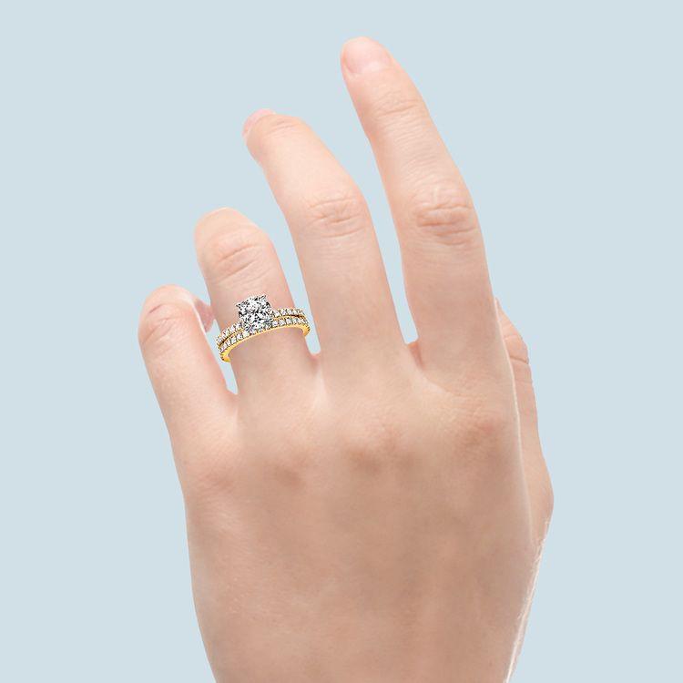 Petite Pave Diamond Bridal Set in Yellow Gold | 06