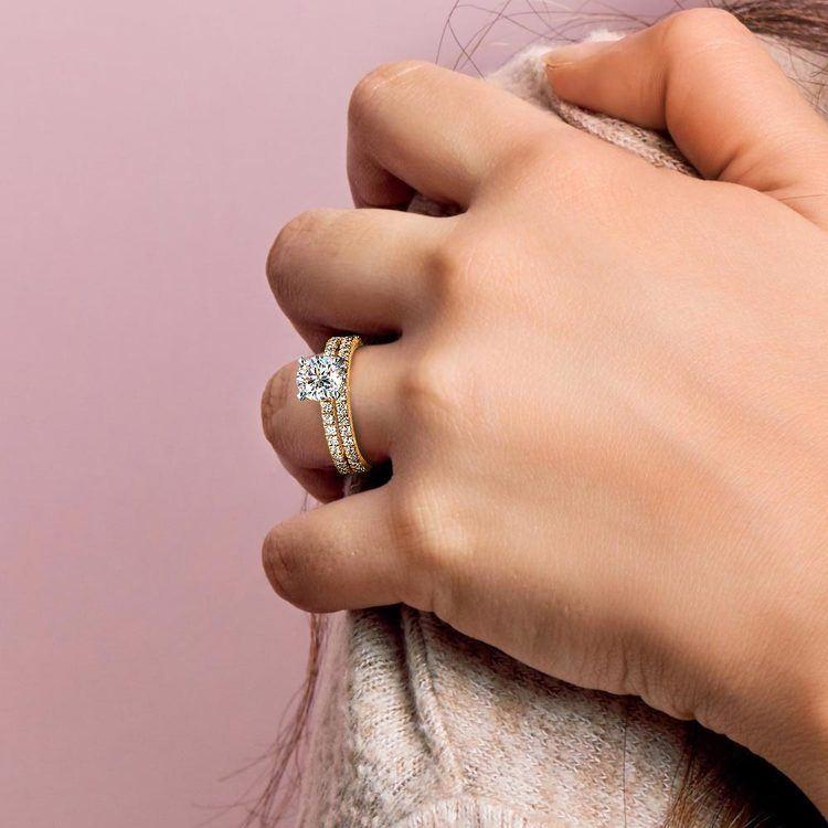 Petite Pave Diamond Bridal Set in Yellow Gold | 07