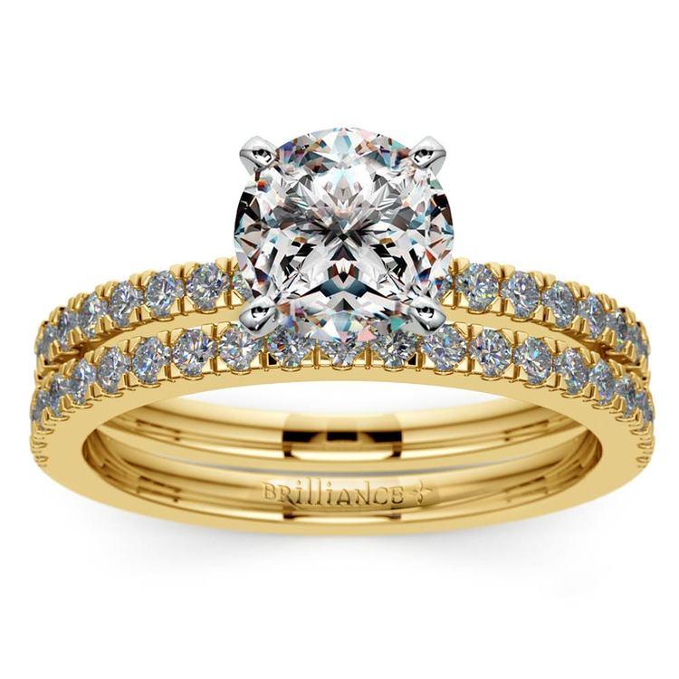 Petite Pave Diamond Bridal Set in Yellow Gold | 01