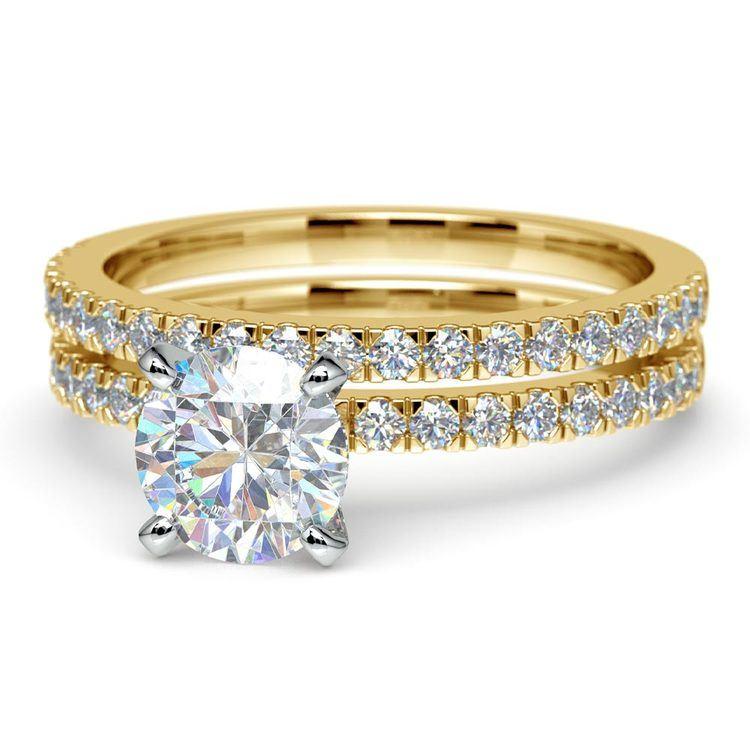 Petite Pave Diamond Bridal Set in Yellow Gold | 04