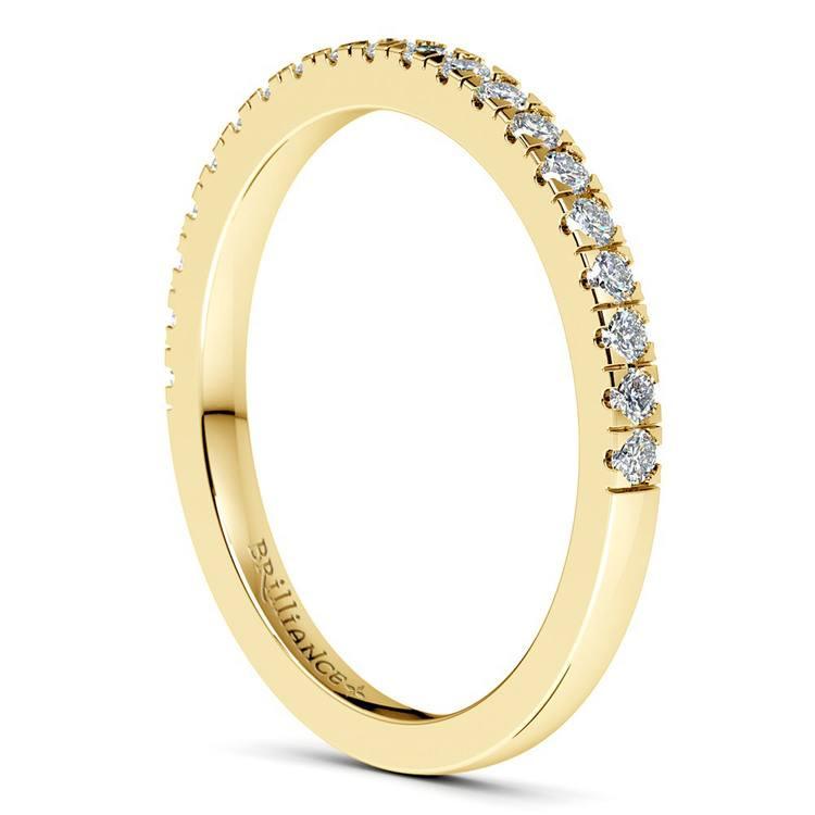 Petite Pave Diamond Bridal Set in Yellow Gold | 05