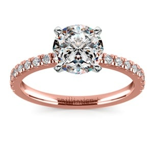 petite pave diamond engagement ring in rose gold 14 ctw - Wedding Rings Rose Gold