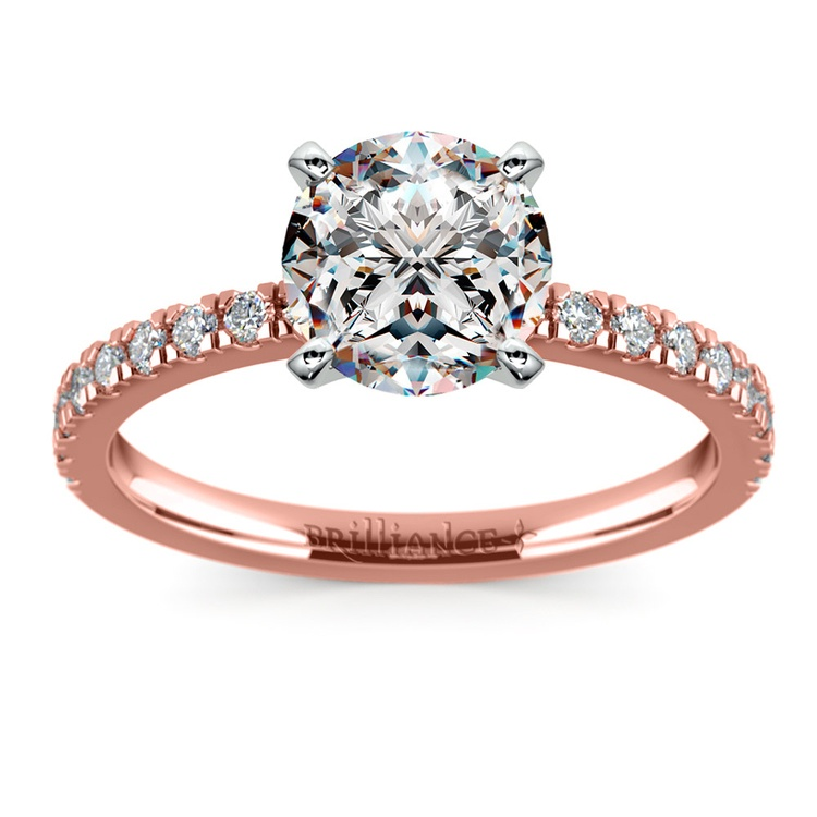 Petite Pave Diamond Engagement Ring in Rose Gold (1/4 ctw) | 01