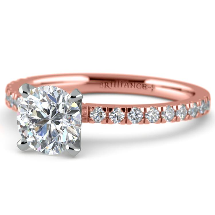 Petite Pave Diamond Engagement Ring in Rose Gold (1/4 ctw) | 04