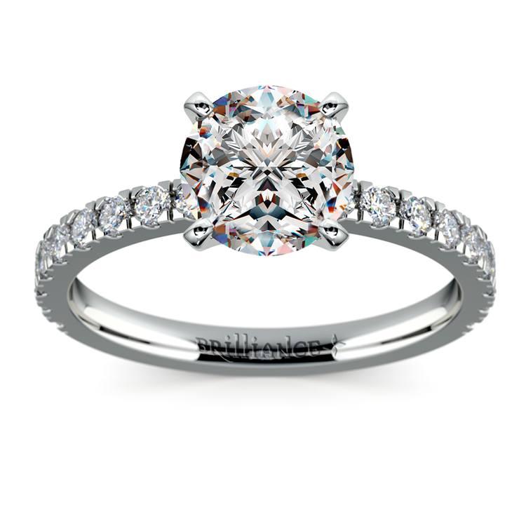 Petite Pave Diamond Engagement Ring in Palladium (1/3 ctw) | 01