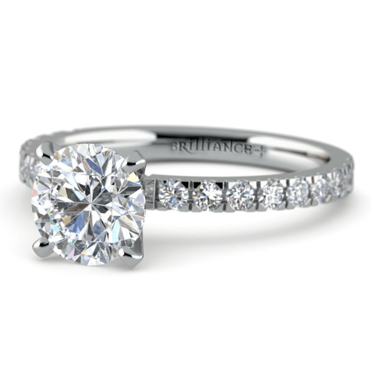 Petite Pave Diamond Engagement Ring in Platinum (1/3 ctw)   04