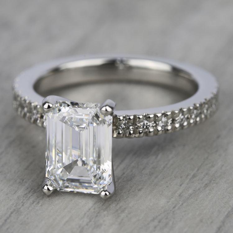 Petite Pave Diamond Engagement Ring in Platinum (1/3 ctw)   05
