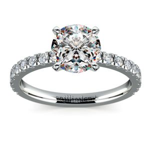 Petite Pave Diamond Engagement Ring in White Gold (1/3 ctw)