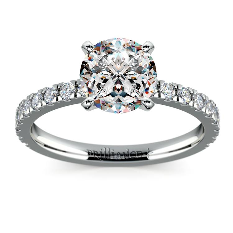 Petite Pave Diamond Engagement Ring in White Gold (1/3 ctw) | 01